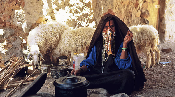 A Bedouin woman at her kitchen.