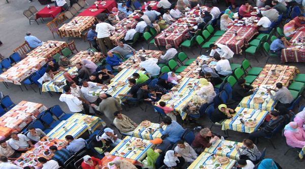 Charity tables at Ramadan time.