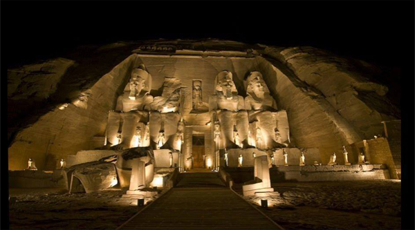 Ramses II temple at Abu Simble during Sound & Light show.