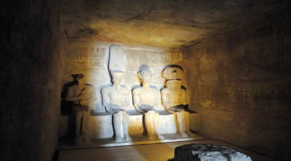 Sun at the main chamber of Abu Simbel temple