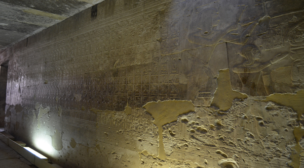 Pharaohs list on the wall of Abydos temple