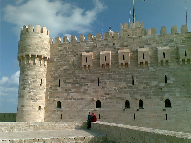 Wall of Qaitbay fort in Alexandria