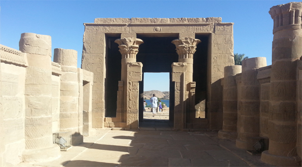 At the entrance to Isis temple on Philae island