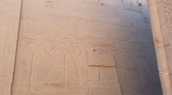 Decorations on the wall of Isis temple on Philae