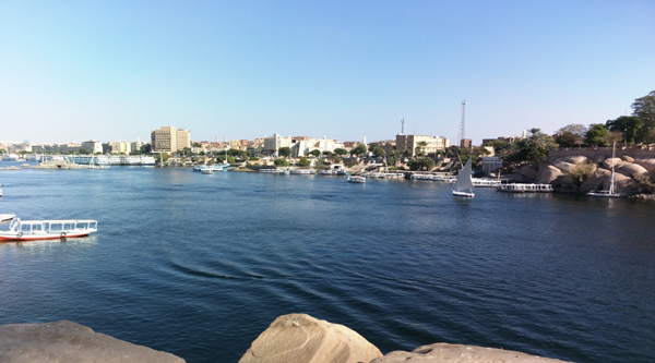 View over Aswan from the Nile.