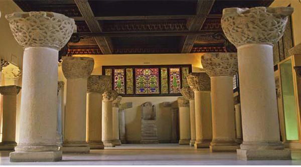 Columns inside Coptic museum.