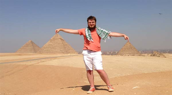 Between two pyramids in Giza