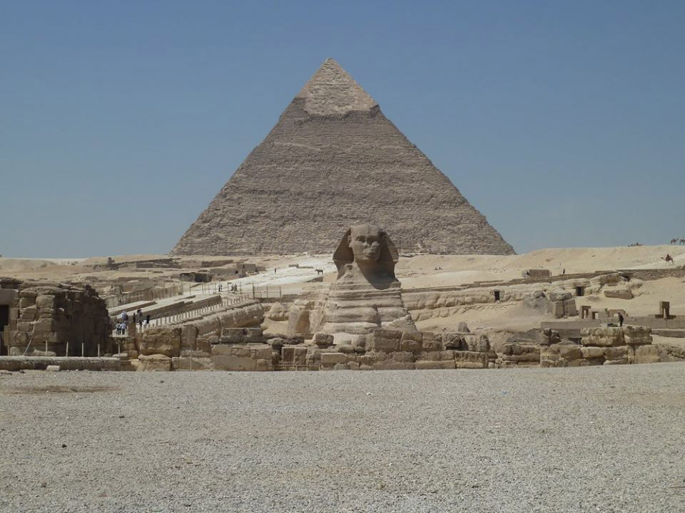 Sphinx at the bottom of Kefren pyramid