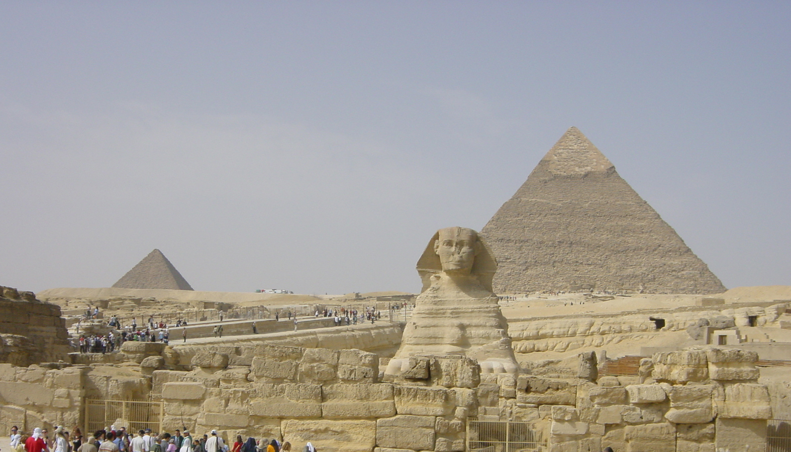 Sphinx at the bottom of the Pyramids