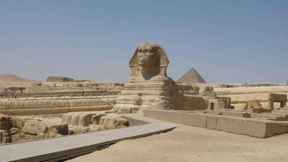 Sphinx at the bottom of the pyramids.