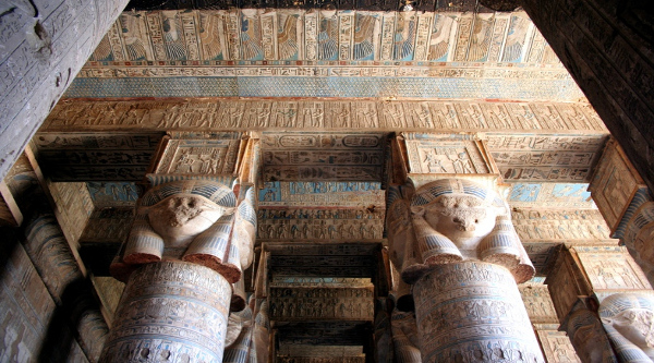 Columns with Hathor capitals