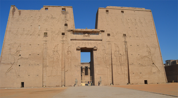 Edfu temple of Horus main pylon.