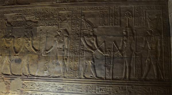 Wall relief inside Edfu temple