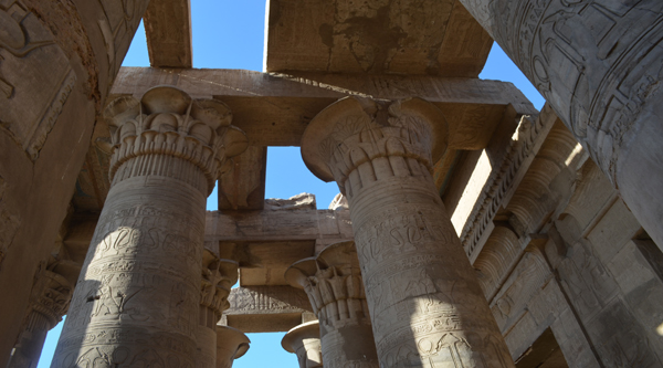Hypostyle hall at Kom Ombo temple.