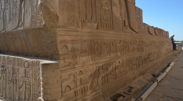 Wall of Kom Ombo temple with inscriptions