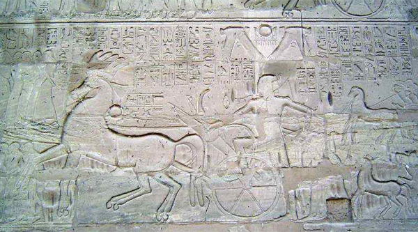 Chariot drawing on the wall of Karnak temple