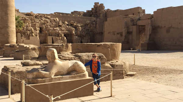 A statue of sphinx in Karnak temple