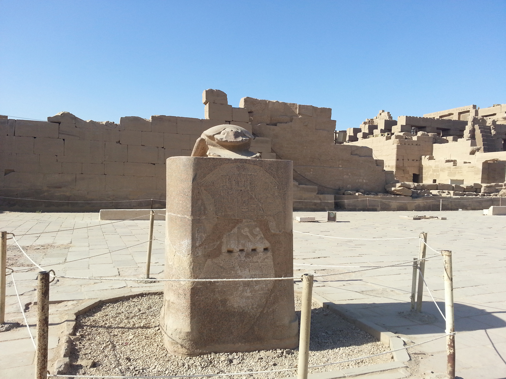 The statue of a giant scarab at Karnak temple