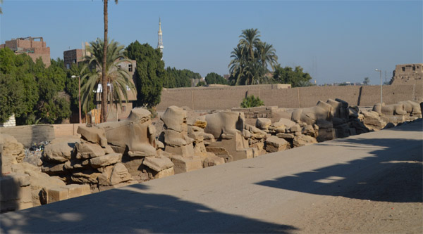 Remains of Sphinxes in front of Karnak temple.
