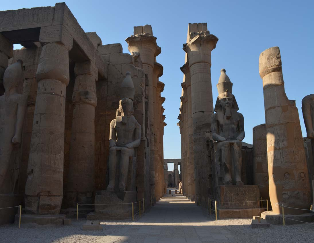 Two gigantic statues inside Luxor temple