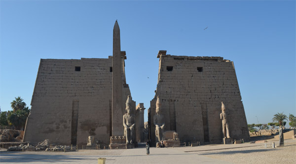 Main Pylon of Luxor temple in Luxor city, Egypt