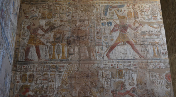 Wall paintings on Luxor temple walls