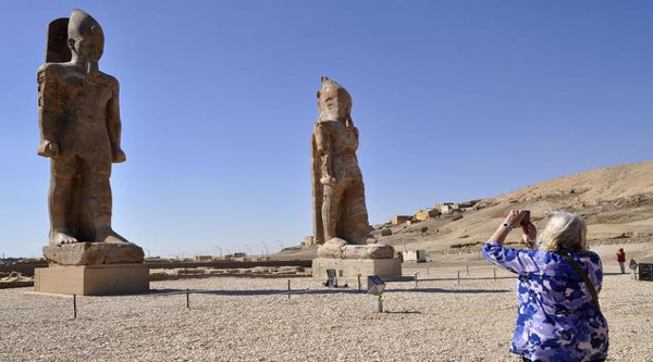 Amenhotep III statues at Luxor West Bank