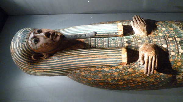 A beautiful sarcophagus on display.