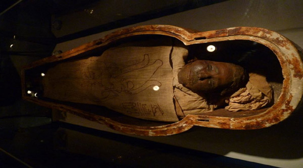 Human mummy on display.