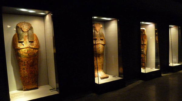 Sarcophagi on display.