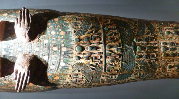 Colourfully decorated sarcophagus.