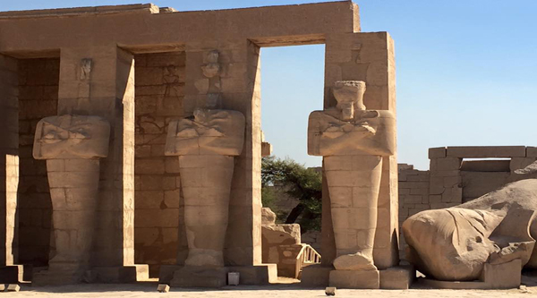 Pharaohs' statues at the temple.