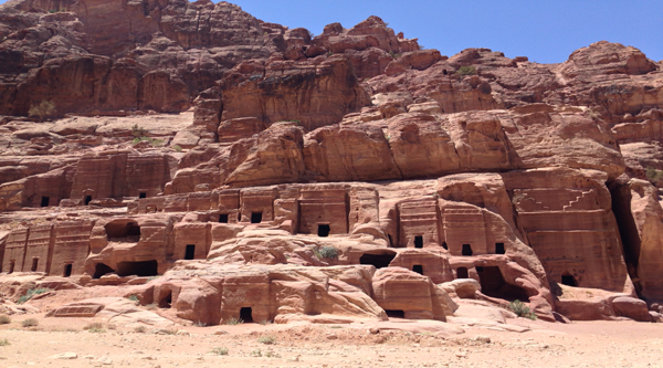 Ancient tombs in Petra are cut in cliffs