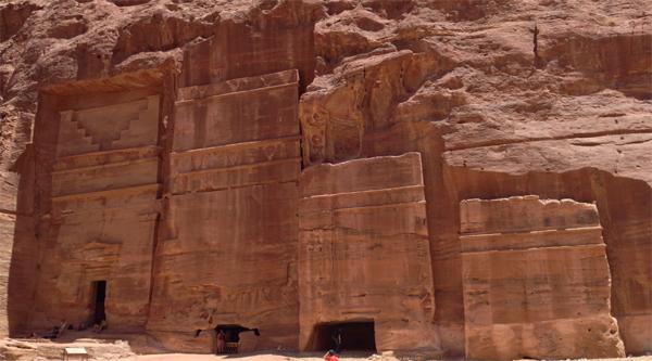 Tombs cut in rocks in Petra city