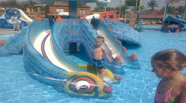 Aqua park kids slides in Sharm El Sheikh