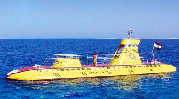 Sindbad submarine in the sea