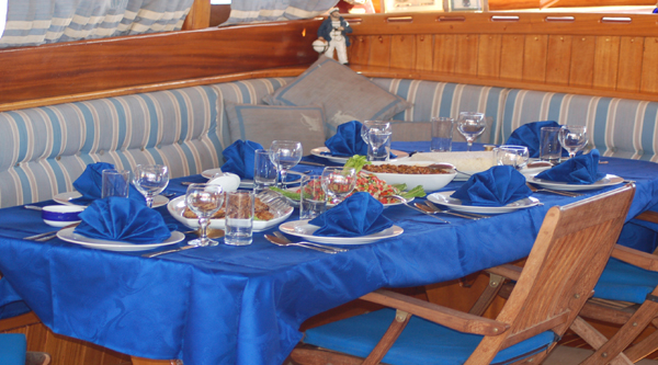 Evening romantic dinner on a private boat.