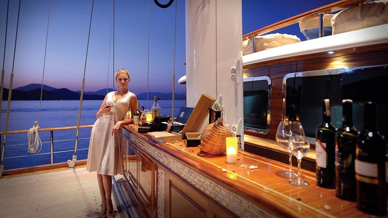 Evening romantic dinner on a private boat