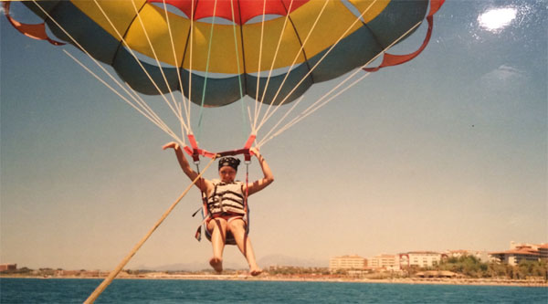 Parasailing activity.
