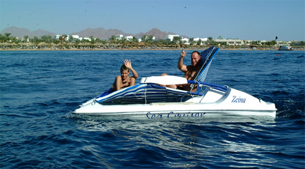 Riding a pedal boat along the Red Sea