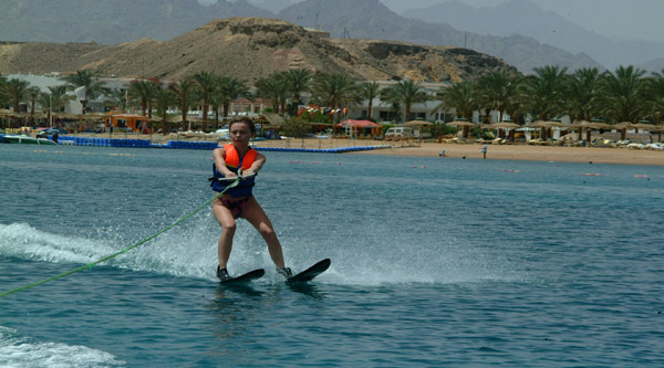 Water-skiing along the shores of Sharm el Sheikh.