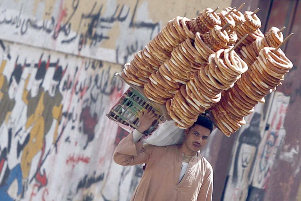 Bagel vendor street food in cairo