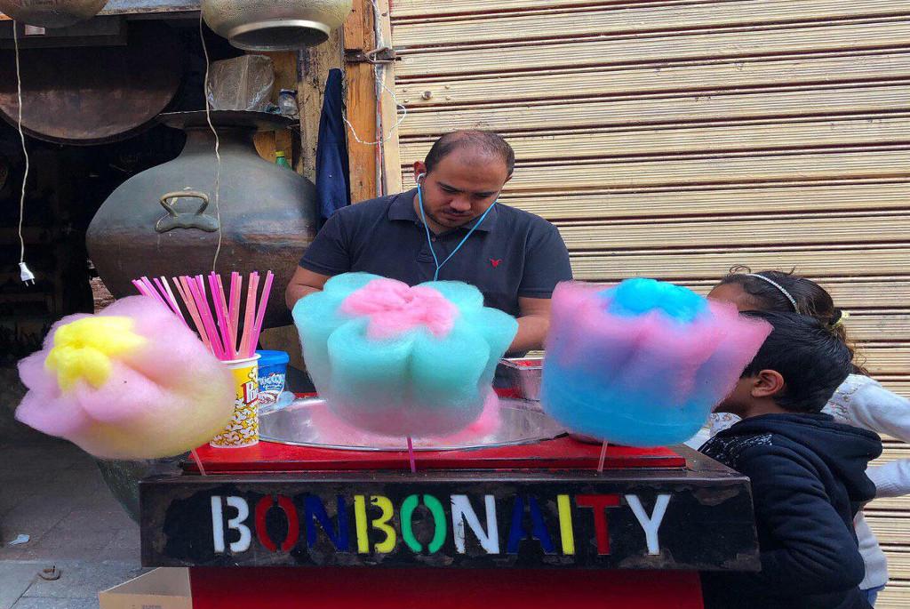 Candy floss vendor