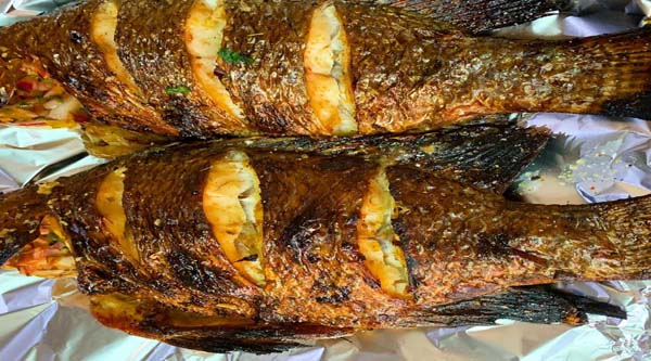 Traditionally cooked fish