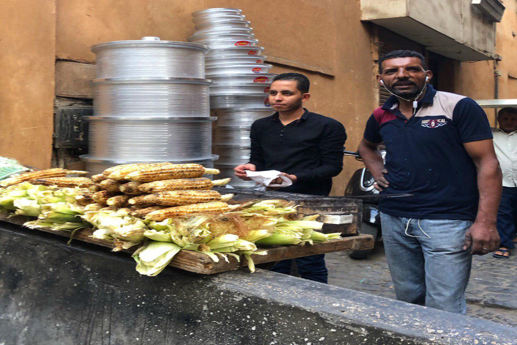 Grilled Corn Vendor in Cairo