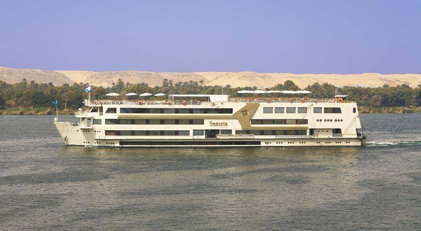 Floating Nile cruise ship cruising the Nile