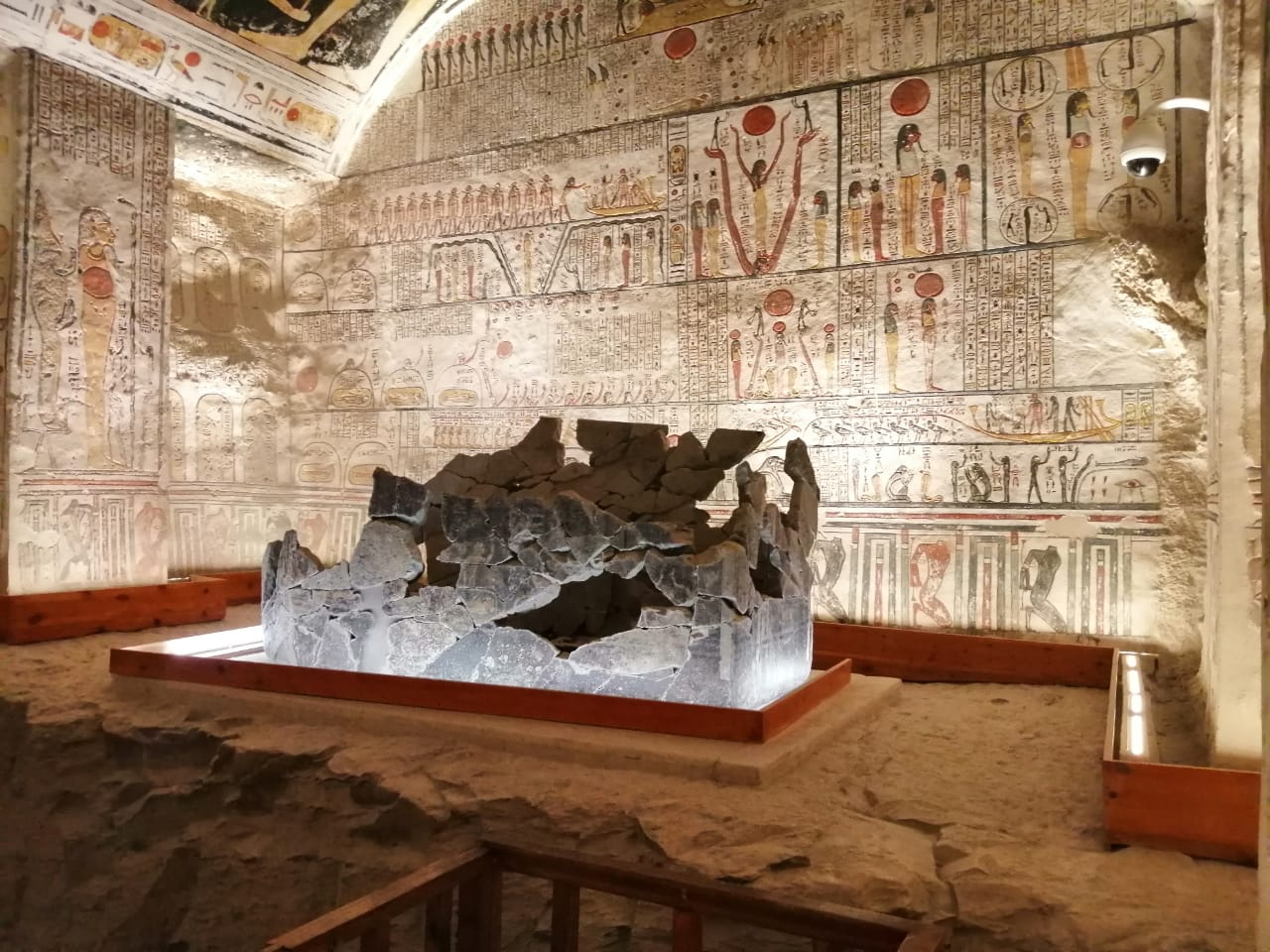 Principal chamber of Ramses V tomb with sarcophagus.