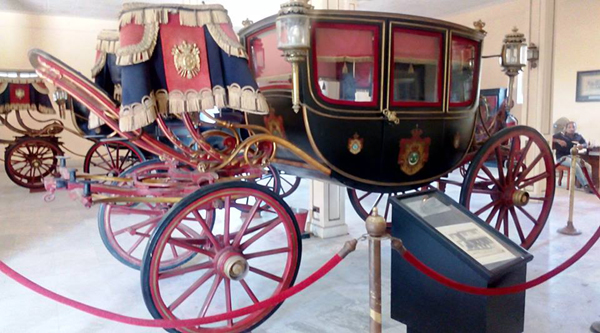 Royal carriage on display.