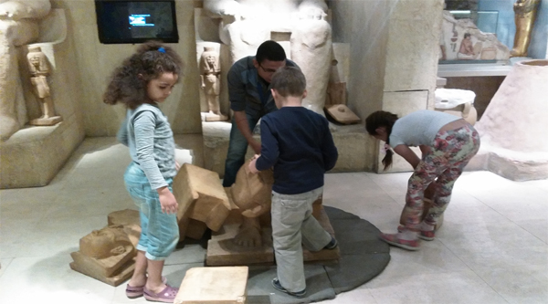 Constructing a statue of a pharaoh.