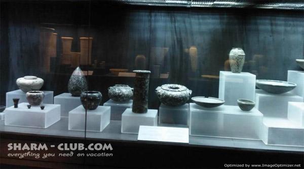 Vessels on display.